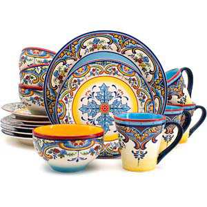 6. Euro Ceramica Zanzibar Collection Dinnerware Set Kitchen and Dining