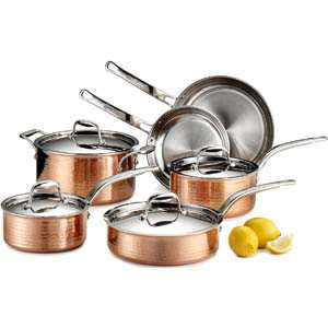 Lagostina Martellata Hammered Copper Cookware Set