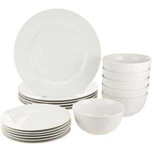 10. AmazonBasics White Kitchen Dinnerware Set