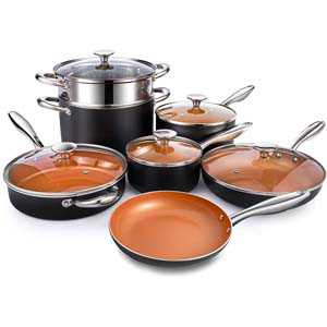 MICHELANGELO Copper Pots and Pans cookware set.