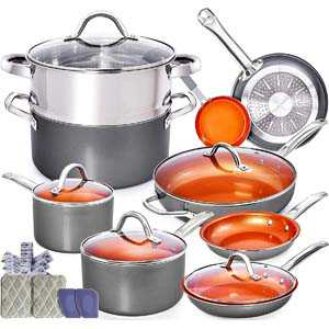 Home Hero Copper Pots and Pans Set - 13pc Copper