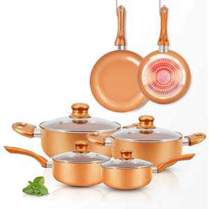 FRUITEAM 10pcs Cookware Set